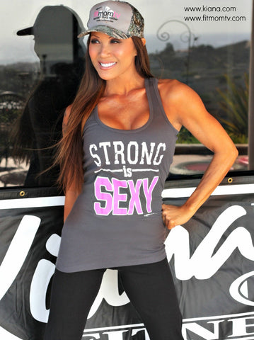 STRONG IS SEXY Tank Top: Steel Gray - Kiana Fitness Shop - 3