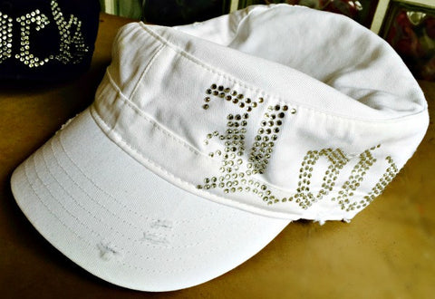 LOVE Bling Cadet Cap - White - Kiana Fitness Shop - 2