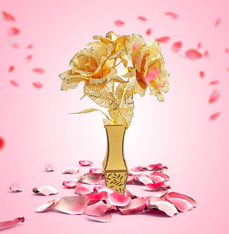 Golden Rose's & Vase - Metaltech Models
