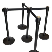 Load image into Gallery viewer, Black Retractable Belt Stanchion with 3 Hooks