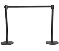 Black Retractable Belt Stanchion with 3 Hooks