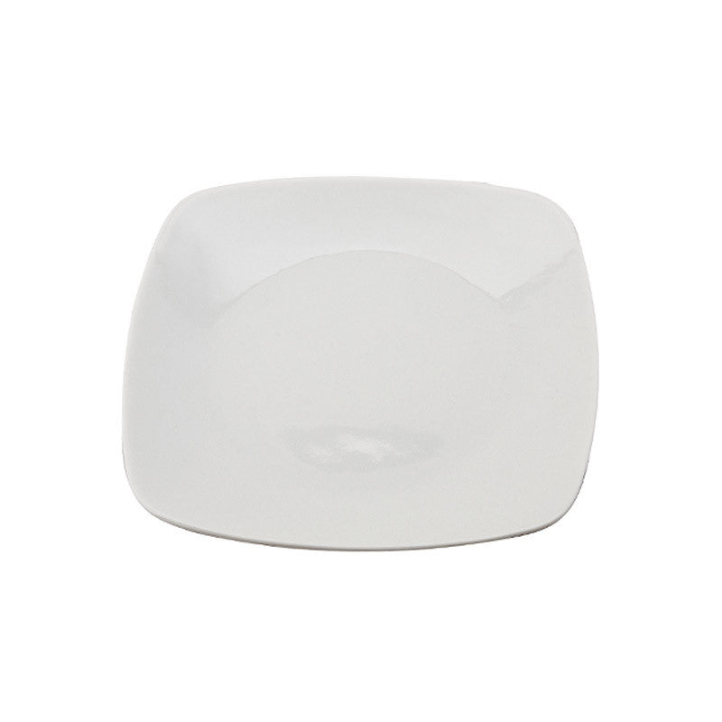 White Porcelain Square Coupe Plates IEP