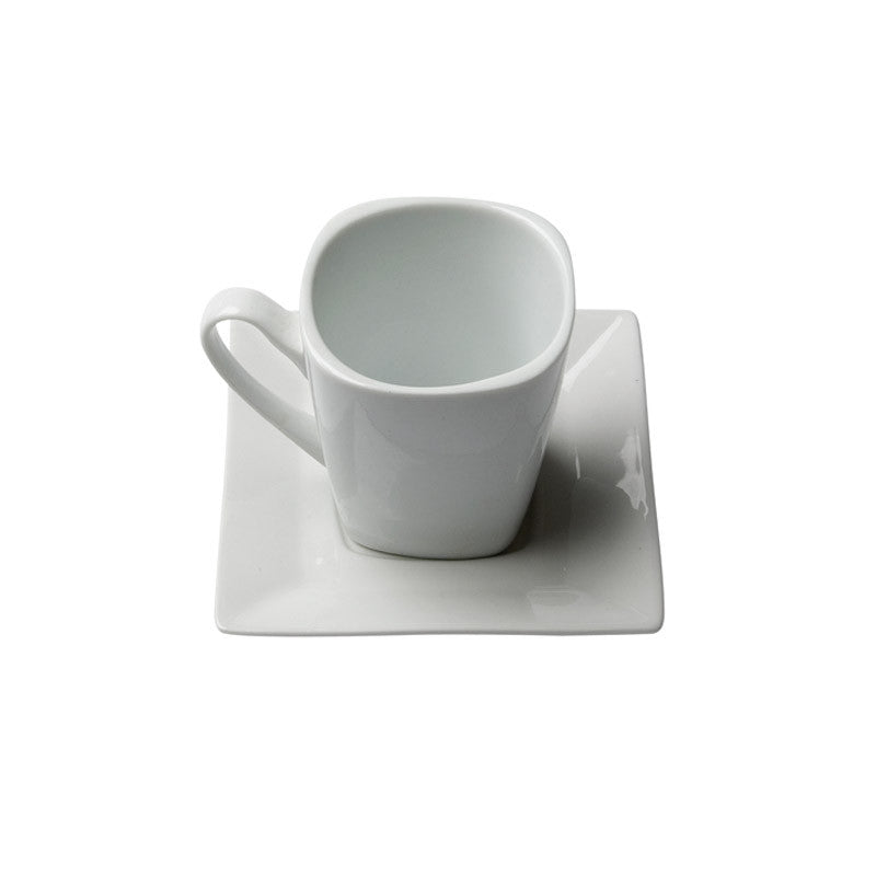 White Porcelain Square Coffee Cup with Saucer IEP