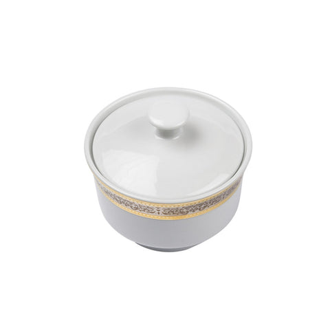 Cotillion Platinum with Gold Sugar Bowl with Cover - 10 oz