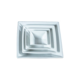 White Porcelain Flared Square Serving Bowls IEP
