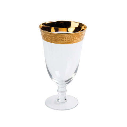 Magnificence Wide Gold Rim Water Goblet - 16 oz