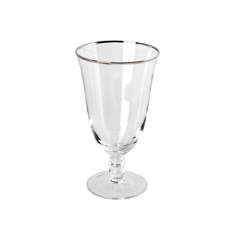 Thin Silver Rim Water Goblet - 16 oz