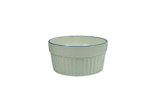 White Porcelain Souffle Cup / Ramekin 7oz with Blue Rim IEP