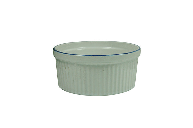 White Porcelain Souffle Cup / Ramekin 11oz with Blue Rim IEP