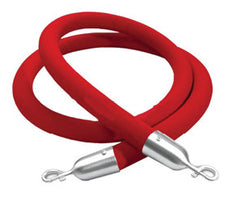 Red Velvet Rope with Chrome (silver) Clasp for Stanchions