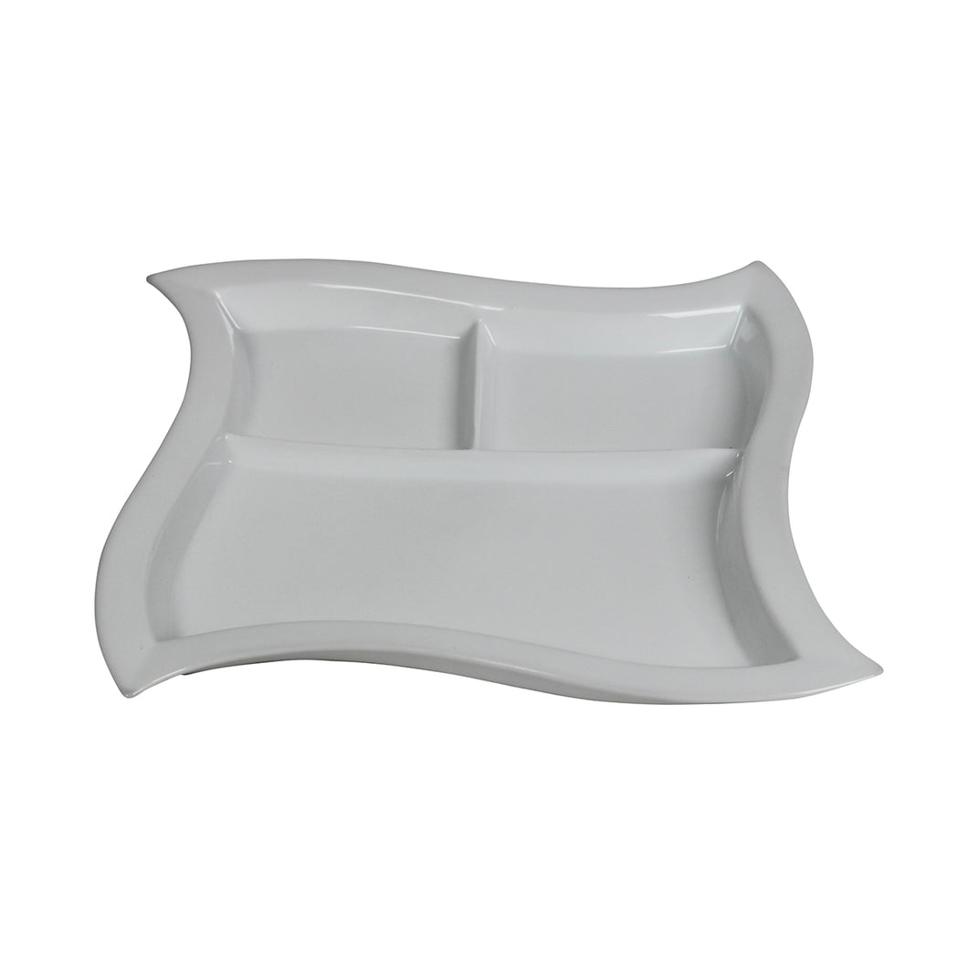 White Porcelain 3 Section Wave Dish IEP
