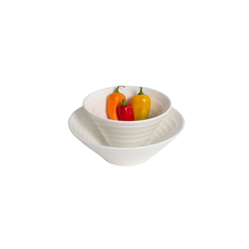 White Porcelain Ribbed Flare Bowls IEP