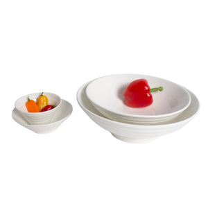 White Porcelain Ribbed Flares & Round Serving Bowls IEP