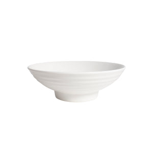 White Porcelain Ribbed Round Serving Bowls IEP