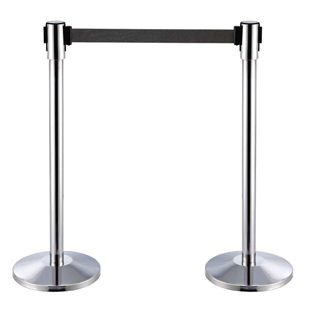 Stainless Steel Retractable Belt Stanchion with 3 Hooks