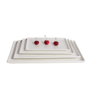 White Porcelain Shallow Rectangle Platters IEP