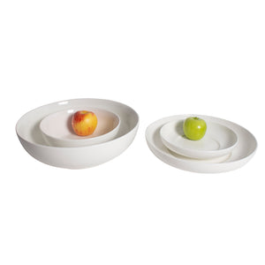 White Porcelain Shallow Round Serving Bowls IEP