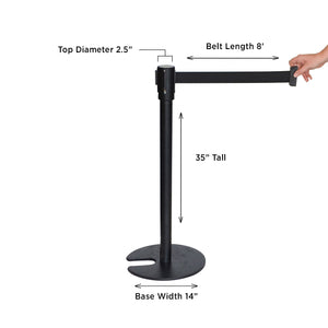 Black Retractable Belt Stanchion- Flat Stackable Base- with 3 Hooks