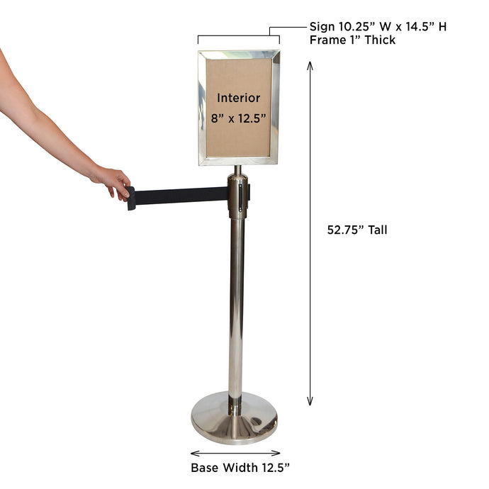 Sign Holder for Retractable Belt Stanchions