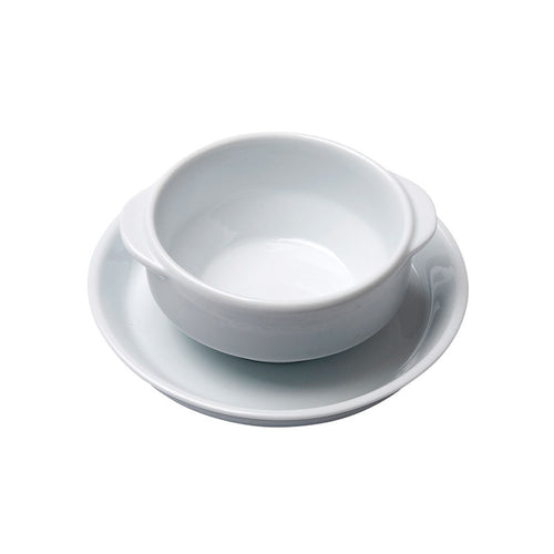 Porcelain Soup Bowl with Handles and Saucer Base IEP