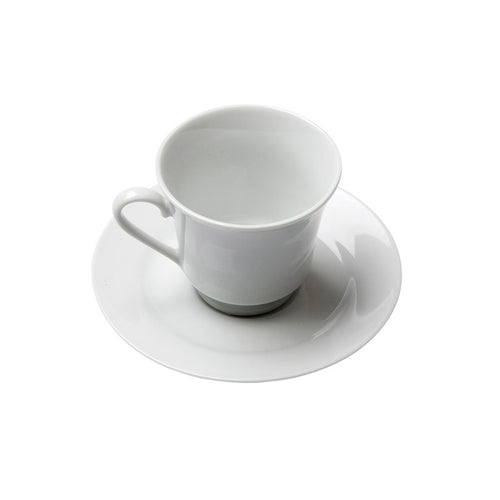 White Porcelain Footed Style Coffee Cup with Saucer IEP