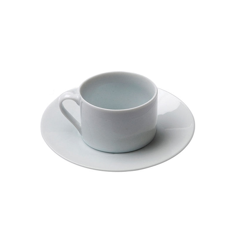 White Porcelain Barrel Style Coffee Cup with Saucer IEP