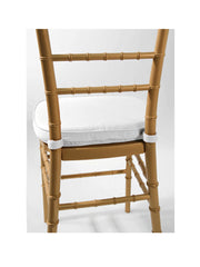 Cushion- Chiavari White  Soft with Foam Pad and Velcro Tabs