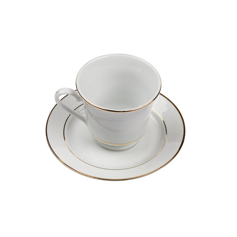 White Rim Gold Footed Coffee Cup (or tea) / Saucer