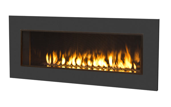 Valor Direct Vent L2 Linear Series Gas Fireplace - Glass Set / Black Surround