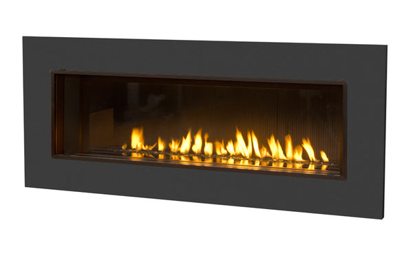 Valor L2 Linear Series Gas Fireplace - Glass Set / Black Surround