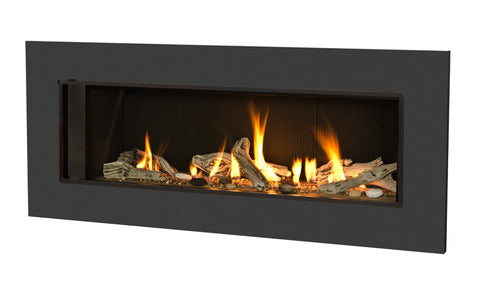 Valor L2 Linear Series Gas Fireplace - Driftwood Set / Black Surround