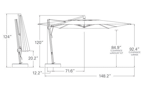 Measurements 10 x 13 cantilever umbrella