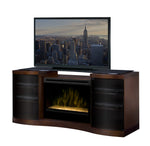 Acton Media Console Electric Fireplace  Walnut Finish With Glass | Patio Palace