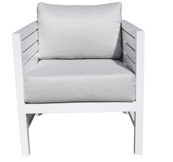 Delano Deep Seat Chair White Finish Front View
