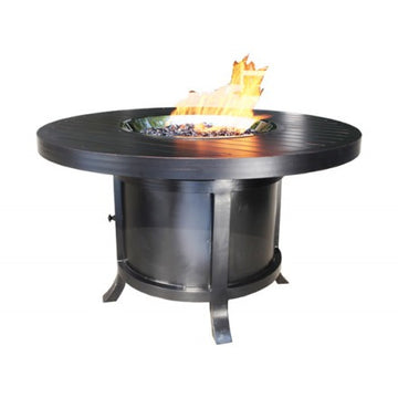 "50"" Round Chat Monaco Outdoor Firepit by Cabana Coast - Dark Rum"