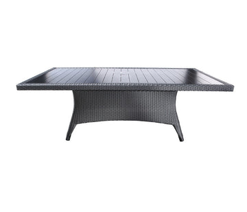 "Flight Dining by Cabana Coast - 112"" Rectangular Table - Dark Rum/Saddle Frame"