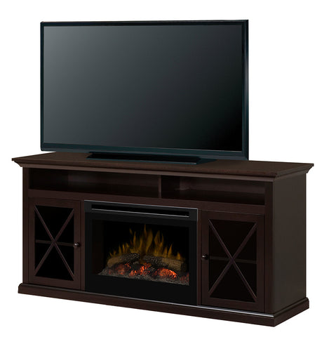 Dimplex Newman Media Console Electric Fireplace With Log Set | Patio Palace