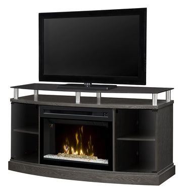 Windham Media Console Electric Fireplace- Silver Charcoal