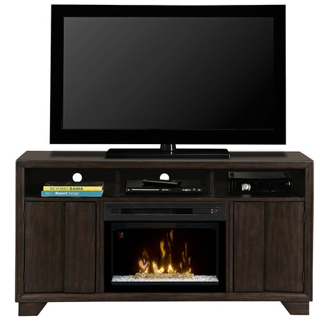 Bayne Media Console Electric Fireplace With Glass | Patio Palace