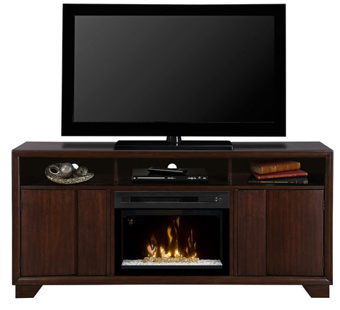 Arkell Media Console Electric Fireplace With Glass | Patio Palace