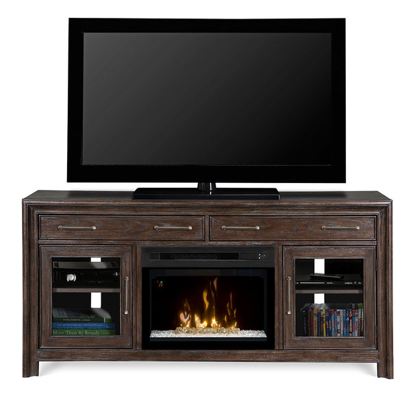 Dimplex WoolBrook Media Console Electric Fireplace With Glass | Patio Palace