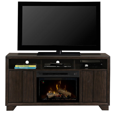 Bayne Media Console Electric Fireplace With Log Set | Patio Palace