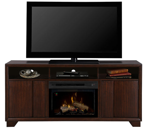 Arkell Media Console Electric Fireplace With Log Set | Patio Palace