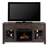 Dimplex WoolBrook Media Console Electric Fireplace With Log Set | Patio Palace