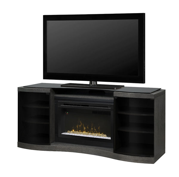 Acton Media Console Electric Fireplace White Birch Finish With Glass | Patio Palace