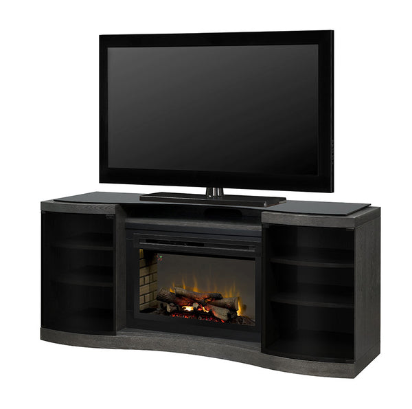 Acton Media Console Electric Fireplace White Birch Finish With Log Set | Patio Palace