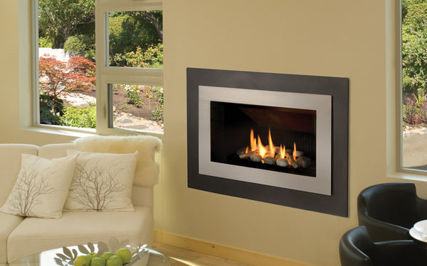 Valor Direct Vent H4 Series Gas Fireplace - Driftwood Set / Silver Surround