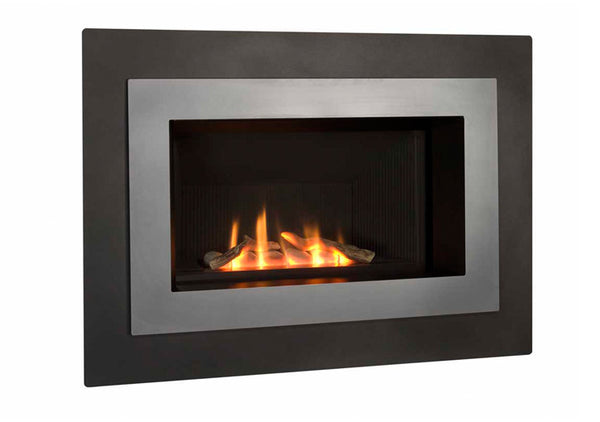 Valor Direct Vent H4 Series Gas Fireplace - Log Set / Silver Surround