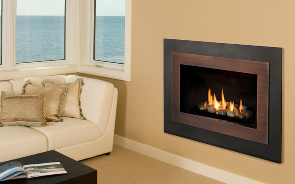 Valor Direct Vent H4 Series Gas Fireplace - Rock Set / Bronze Surround