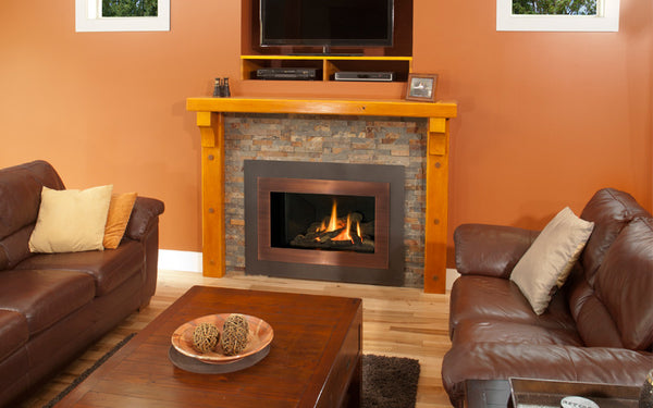 Valor Direct Vent H4 Series Gas Fireplace - Driftwood Set / Bronze Surround